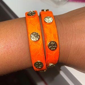 Like New Auth Tory Burch Python Wrap bracelet